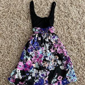 Charlotte Russe floral black tie waist dress sz s